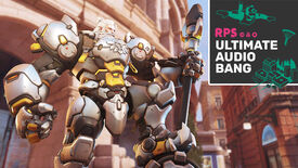 Overwatch 2's Reinhardt standing proud with a leg on his hammer, and the Ultimate Audio Bang podcast logo is in the top right