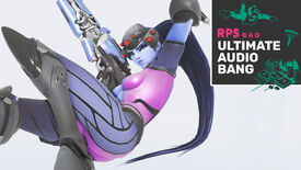 Widowmaker from Overwatch laying down in a white void, with the Ultimate Audio Bang podcast logo in the top right