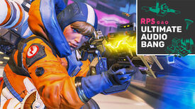 Wattson from Apex Legends aiming down her gun in the Arenas mode, with the Ultimate Audio Bang podcast logo in the top right
