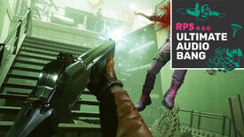 Colt shoots an enemy in mid-air in Deathloop, and the Ultimate Audio Bang podcast logo is in the top right.