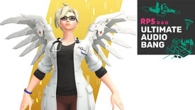 Mercy with her Dr Ziegler skin in Overwatch, with the Ultimate Audio Bang podcast logo in the top right