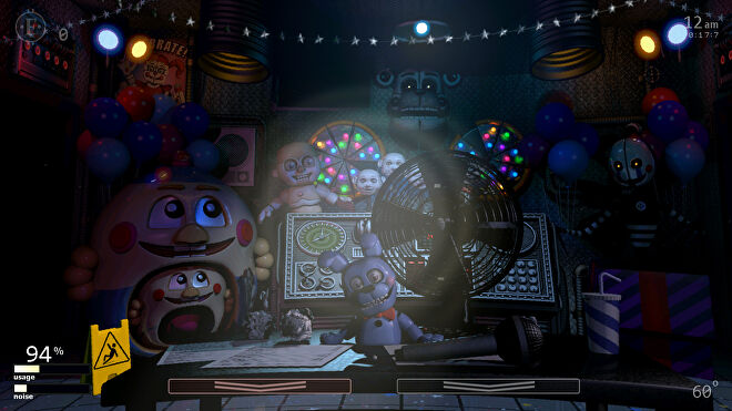 Horrible animatronics in a screenshot of Ultimate Custom Night, a free Five Night's At Freddy's game.