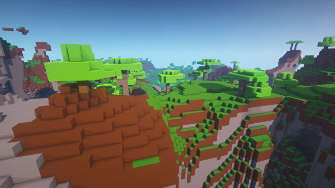 A Minecraft screenshot of a landscape displayed using the Ultra FPS Booster Texture Pack.