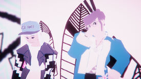 Two characters stand against a white background in Umurangi Generations