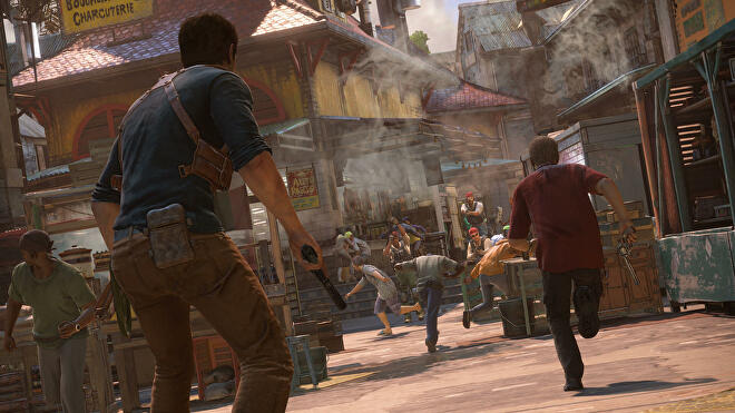 Drake and Sully in an Uncharted 4 screenshot.