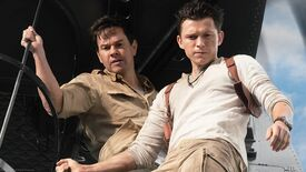 A still from the Uncharted movie showing Tom Holland and Mark Wahlberg.