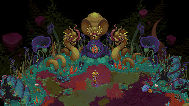 A spooky scene showing three giant serpent monsters in Undungeon