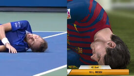 A picture comparing tennis player Medvedev's brick fall with one by Lionel Messi in FIFA 13.
