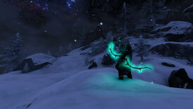 A Valheim screenshot of a late-game player in a Mountains biome, wielding a Draugr Fang bow.