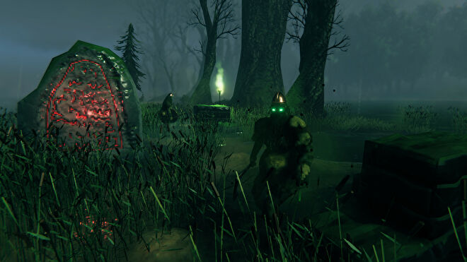 A Valheim screenshot of a Draugr wielding an axe and staring at the camera, with another Draugr in the background guarding a chest and a Vegvisir in a Swamp biome.