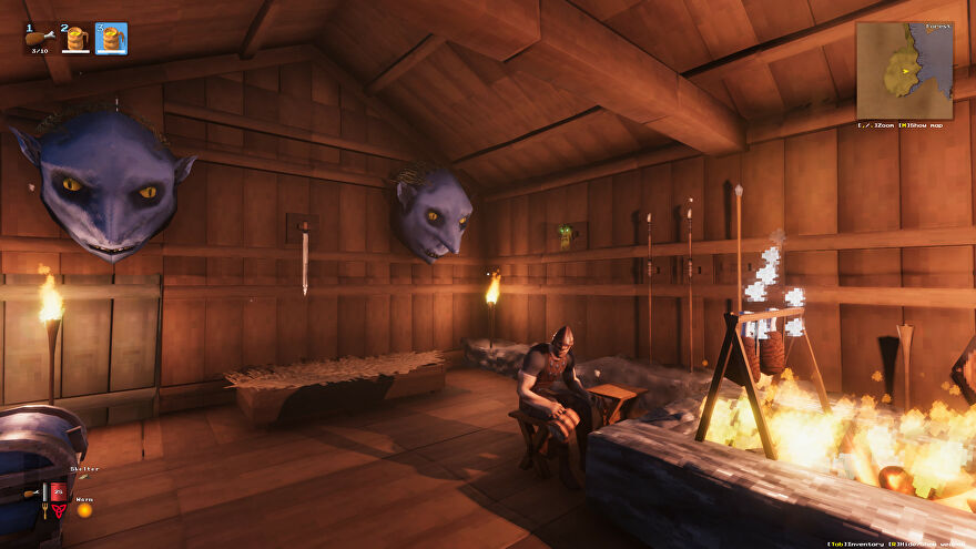A Valheim screenshot of a house interior, with weapons and trophies on the wall and a player in the foreground sitting on a stool.