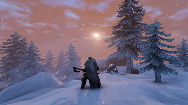 A Valheim screenshot of a player standing with their back to the camera, wielding a Battleaxe and looking out into a Mountains biome.