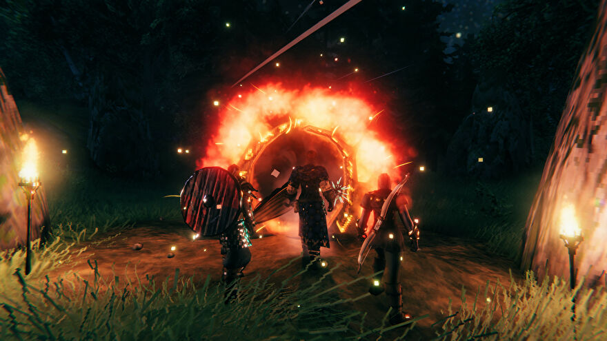 A Valheim screenshot of three armed and armoured players looking into a Portal.