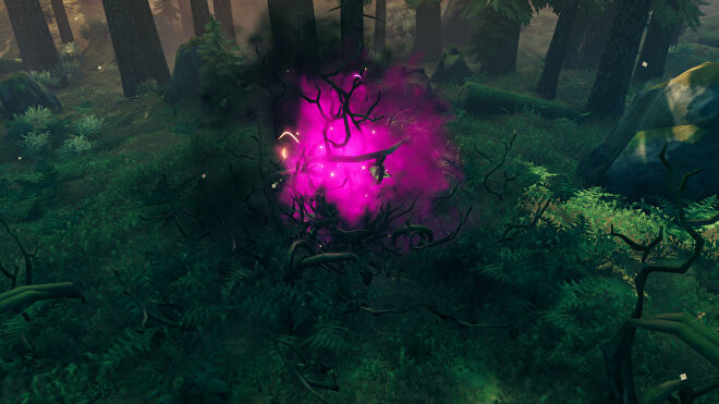 A Valheim screenshot of a Greydwarf spawner, a source of Ancient Seeds found in the Black Forest.