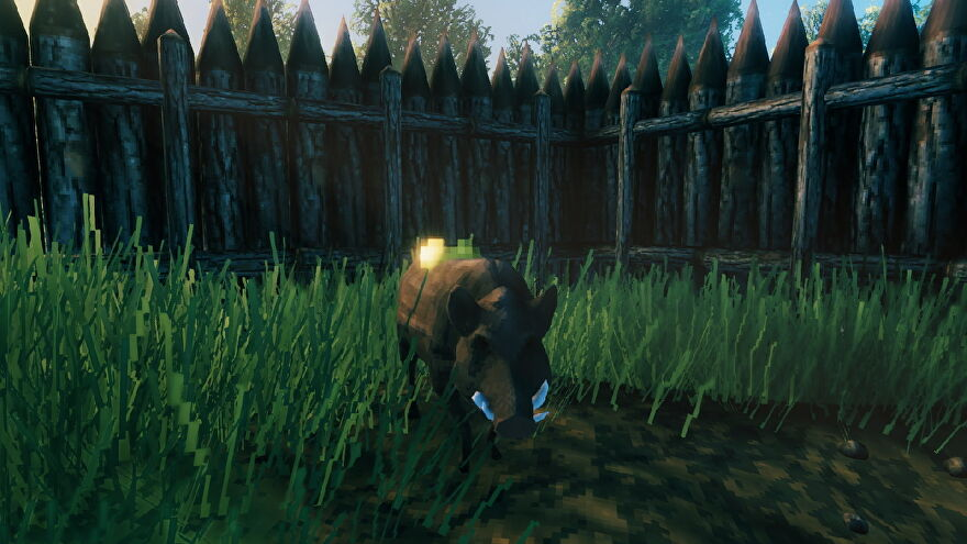 A screenshot from Valheim, which shows a happy boar in its enclosure.