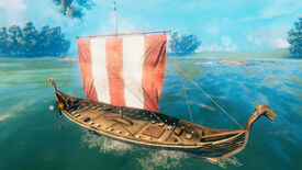 A Valheim screenshot of a Longship at sea.