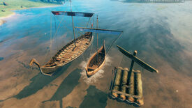A Valheim screenshot of all three types of boat lined up next to one another.