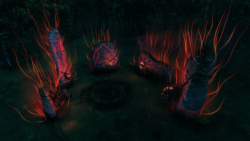 A Valheim screenshot of the circle of stones at spawn, lit up with the Trophies of the five Forsaken bosses.
