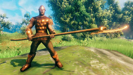 A Valheim screenshot of a player clad in full Bronze Armor, wielding a Bronze Atgeir.