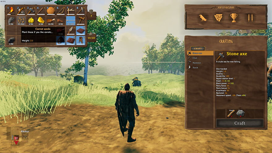 I stand on flattened soil, looking at the carrot seeds in my inventory.