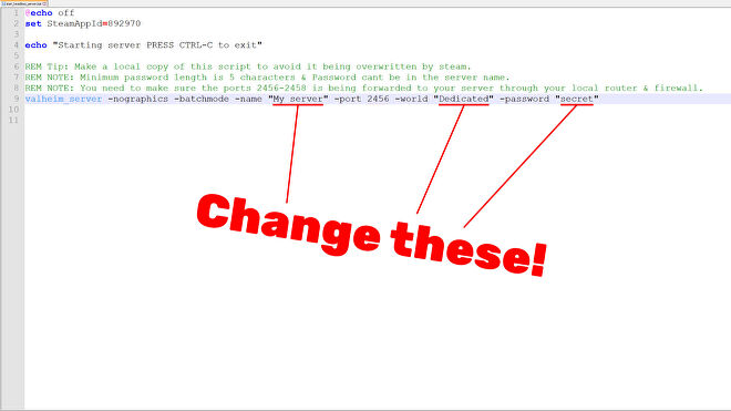"""A screenshot of Valheim's """"start_headless_server"""" file, with the sections you need to change highlighted."""