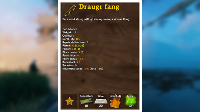 A Valheim screenshot displaying the stats of a Draugr Fang.