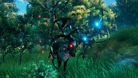 A Valheim screenshot of Eikthyr, the first boss, standing against a Meadows backdrop.