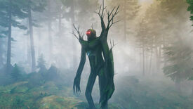 A Valheim screenshot of The Elder, the second boss, standing and looking off-screen, with a Black Forest in the background.