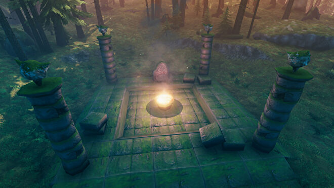 A Valheim screenshot of a Mystical Altar for The Elder, the second boss. At its centre is a flaming bowl, surrounded by four pillars.