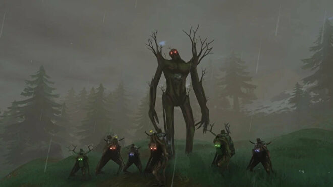 A Valheim screenshot of The Elder, the second boss, flanked by several Greydwarfs of different sizes and varieties.