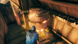 A Valheim screenshot of the player standing in front of a Fermenter at work.
