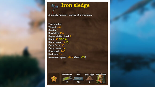 A Valheim screenshot displaying the stats of an Iron Sledge.