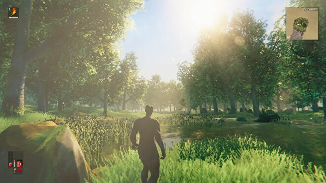 A Viking stands in the low-res forest of survival game Valheim, looking out across a small lake as the sun flashes across the screen.