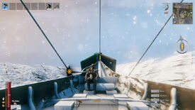 A Valheim screenshot which shows a player in a longboat, prepping for their descent down a huge mega-ramp.