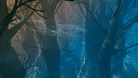 A Valheim screenshot of the Mistlands biome, populated by tall trees and giant cobwebs.