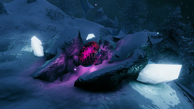 A Valheim screenshot of a Dragon Egg, glowing purple against the white snow of the surrounding Mountain terrain.