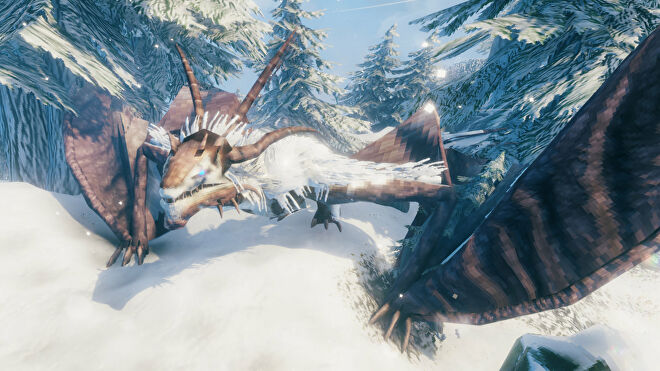 A Valheim screenshot of Moder, the fourth boss, crawling through the snow in a Mountains biome.