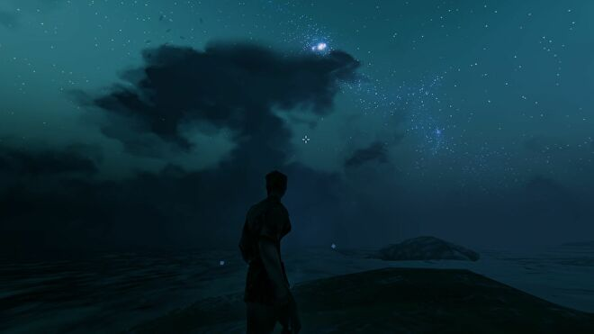 A Viking stands by some water in Valheim, looking up at a starring night sky.