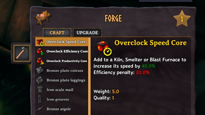 A screenshot of the Surtling Core Overclocking mod which shows the Overlock Speed Core in the crafting menu. It increases speed but at the cost of efficiency.