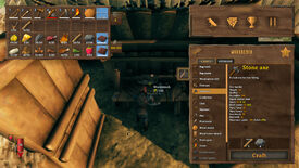 A Valheim screenshot of a player using a Workbench to repair their tools and weapons.