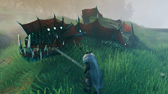 A Valheim screenshot of a Serpent being dragged by a player using the Abyssal Harpoon.