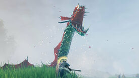 A Valheim screenshot of a beached Serpent roaring at the player.