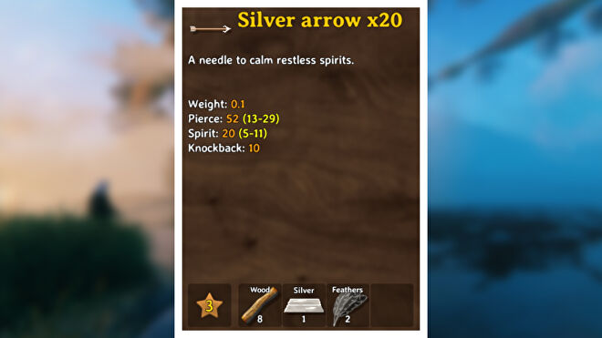 A Valheim screenshot displaying the stats of a Silver Arrow.