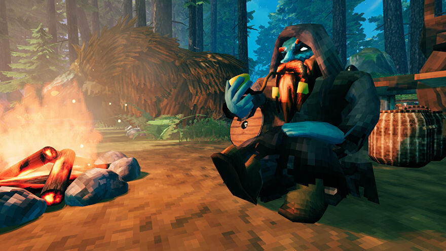 A Valheim screenshot of Haldor the Trader sitting by the fire, smoking a pipe, with Halstein, his beast of burden, in the background.