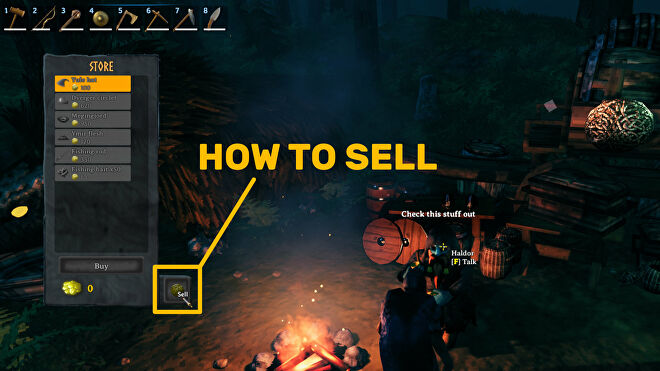 A Valheim screenshot of the Trader window, with the sell button highlighted.