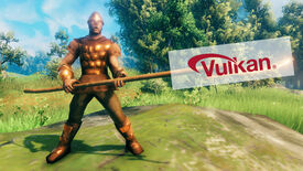 A Valheim screenshot of a player clad in full Bronze Armor, wielding a Bronze Atgeir - and the Vulkan logo has been pasted over the Atgeir's blade.