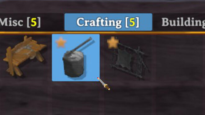 A Valheim screenshot of part of the building menu showcasing two buildings which are used to upgrade a Workbench.