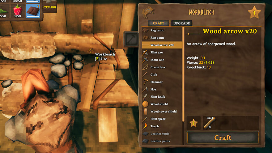 A Valheim screenshot of a Workbench on the left with the crafting screen on the right showing various items that can be crafted with the Workbench.
