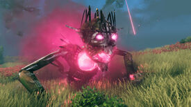 A Valheim screenshot of Yagluth, the fifth and final boss, rising from the ground in a Plains biome.