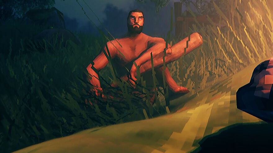 A character in survival game Valheim sitting by a campfire at night